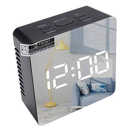 FENGCLOCK Relojes De Alarma Electrónicos Digitales LED, Relojes De Mesa De Escritorio De Funciones De Snooze, Reloj De Alarma De Espejo De Termómetro Interior, Relojes Multifunción,Negro,Square