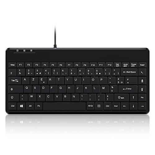 Perixx PERIBOARD-409 - Mini teclado con cable, PS2, 315x147x20 mm, negro AZERTY...