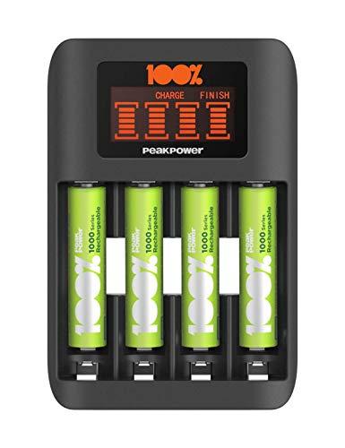100% PeakPower Cargador de Pilas AAA y AA Super Rapido - Incluye 4 Pilas Recargables AAA de 800 mAh | Precargadas Listas para Usar | Indicador de Carga LED