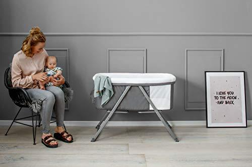 Hauck Dreamer Babywiege/Stubenwagen/Beistell-/Reisebett, inkl. Matratze und Spielzeugtasche, mit Schaukelfunktion, faltbar, klappbar und tragbar, Grau - 16