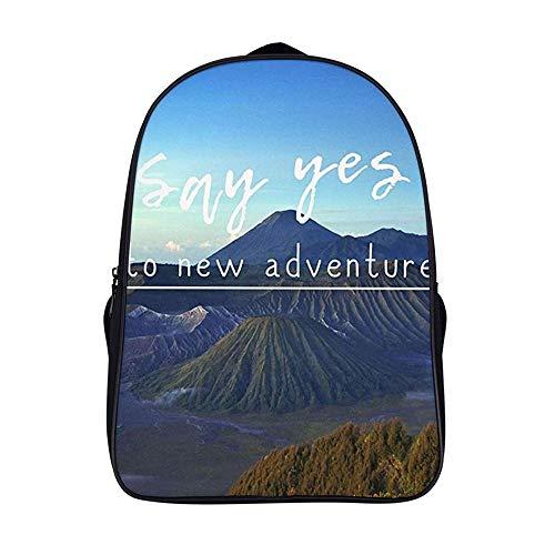 XIAHAILE Kompakte Rucksack Büchertasche für Männer und Frauen, leichter Rucksack für Schul und Urlaubsreisen,Abenteuer Zitat
