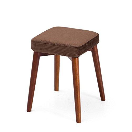 Rollsnownow Coussin marron Tabourets en bois massif créative Fashion Dressing Tabouret Tabouret de table en tissu Accueil petit banc (Color : Brown wooden frame)