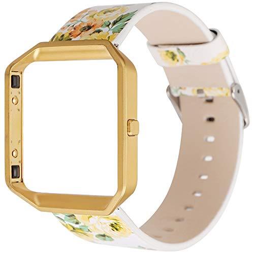 LUONE Mira la Correa, Impreso Estilo Pastoral Reemplazo Compatible con la Pulsera de Reloj de Pulsera de Fitbit Blaze The New Small Floral Deporte Correas de Reloj,Amarillo