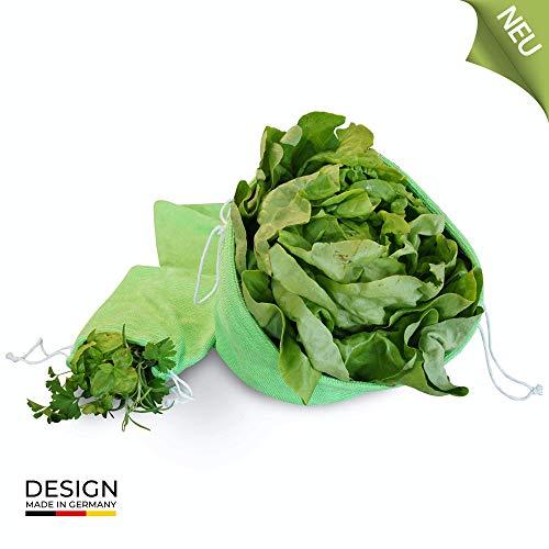 BEXEED Innovative Lebensmittelbeutel - mit 3-in-1-Funktion - hält die Lebensmittel bis zu 5X länger frisch - Salat- und Kräuterbeutel - 2er Set - Obstbeutel - Trockenbeutel - Frisch-Halte-Beutel