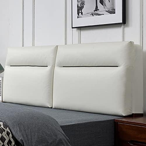 RXBD Cuero de imitación Cabecero tapizado,Soporte de posicionamiento Almohada de Respaldo,Lumbar Cojín de Parachoques,Funda removible (Puede ser Personalizado) (Color : White, Size : 150 * 60cm)