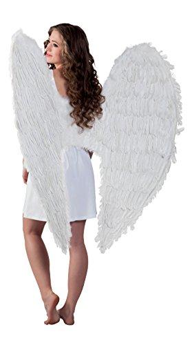 Boland 52803 - Engel Federflügel Weiß, 120 x 120 cm, Angel, Deko, Weihnachten, Valentinstag, Karneval, Fasching, Halloween, Mottoparty, Kostüm, Theater, Accessoire, Verkleidung