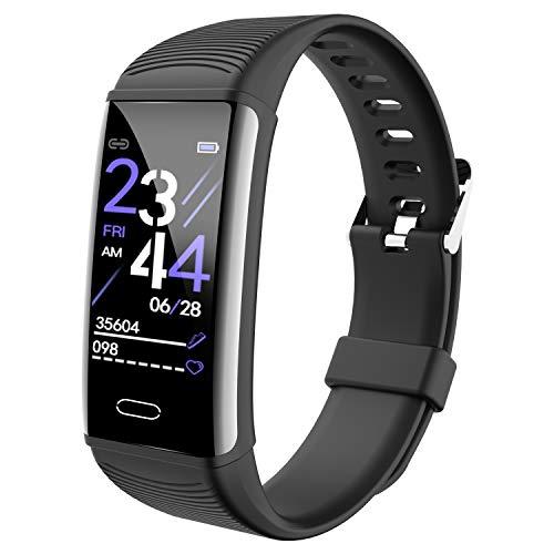 Geeky Pulsera Inteligente con Pantalla en Color,Rastreador de Actividad con Monitor de Frecuencia Cardíaca/Sueño, Pulsera con Podómetro IP68 a Prueba de Agua, Adecuado para Android iOS (Negro)