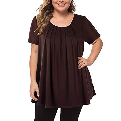 Moda De Las Mujeres Más El Tamaño Plisado Fruncido Cuello Redondo Mangas Cortas Color Sólido Irregular Camiseta Suelta Tops Blusa
