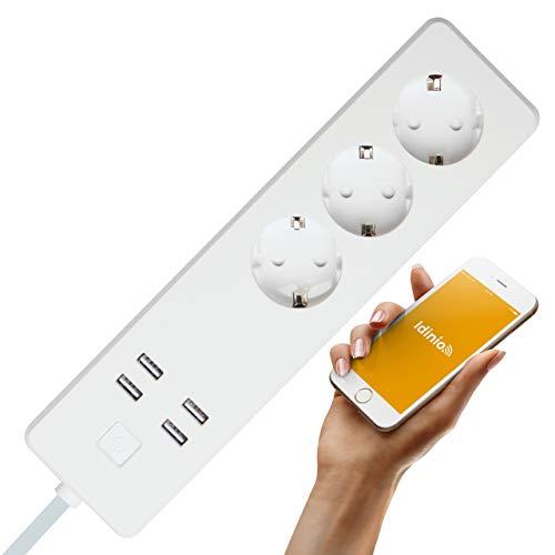 idinio® Smart 3-voudige tafelstopcontact Extender 3, elk stopcontact afzonderlijk schakelbaar + 4x USB, ideaal voor server, NAS, Raspberry Pi, direct via WLAN te gebruiken, gratis app, Skill voor Echo