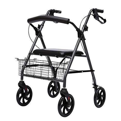 Andador, Andador con Ruedas Plegable De Aluminio/Ayuda De Movilidad para Caminar/Carro De La Compra con Asiento Y Freno De Mano, Andador con Ruedas para Andador Angosto para Ancianos