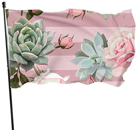 Viplili Banderas Succulents Roses Vector Seamless Floral Flag Banderas Decorativas For Decoration 3x5 Feet Vibrant Colors Polyester and Brass Grommets