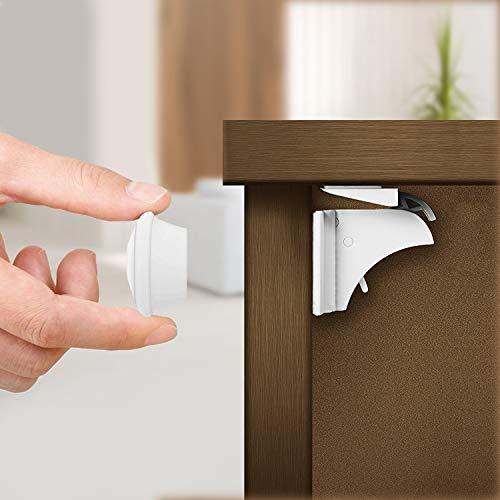 20 Schlösser, 4 Schlüssel| Einfach zu Installieren & Unsichtbar Magnetische Kindersicherung für Schränke Schubladen - Mit Starken 3M Klebestreifen| Schubladensicherung Schrankschloss für Baby Kinder.