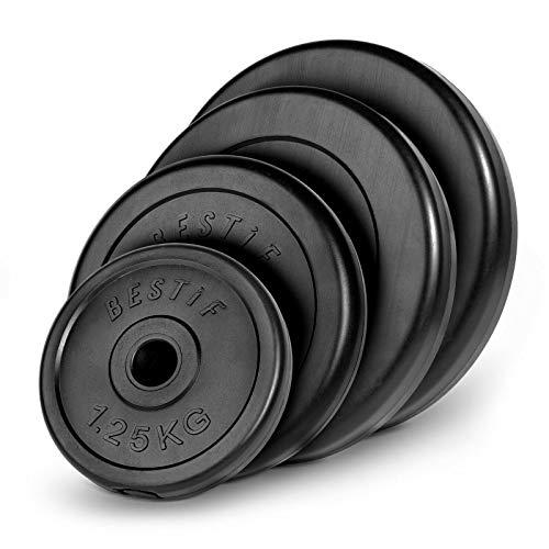 Bestif - Pesi a disco in plastica, peso a scelta, 1,25 kg, 2,5 kg, 5 kg, 10 kg, 20 kg, foro da 29 mm, 1 x 20 kg.