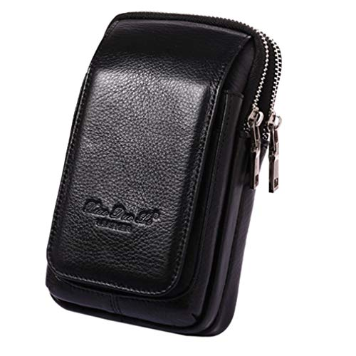 Leather Waist Pack Phone Belt Bag for Men Loop Holster Wallet Cellphone Case Pouch Pack Clip Money Purse for iPhone 11,12,10 Plus Note Edge Plus