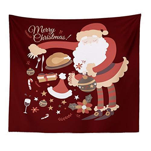 LLLYZZ Vrolijk kerststststrand verflakken tuniek gobelin tafelkleed Home Decoration 150 cm x 150 cm.