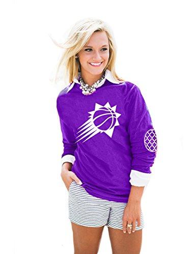 Camiseta de manga larga para mujer de la NBA, coderas con estampado en relieve, de todos los equipos - AEP14WA, Phoenix Suns, XL, Púrpura