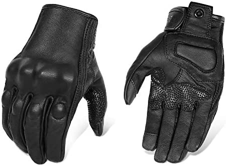 Updated Full Finger Leather Motorcycle Gloves Phone Touch Goat Skin Black Motorbike Riding Gloves product image
