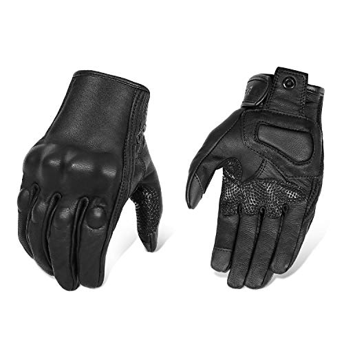 Updated Black Leather Motorcycle Gloves Hard Knuckle Armored Touchscreen Motorcycle Riding Gloves (Updated,Non-Perforated, M)