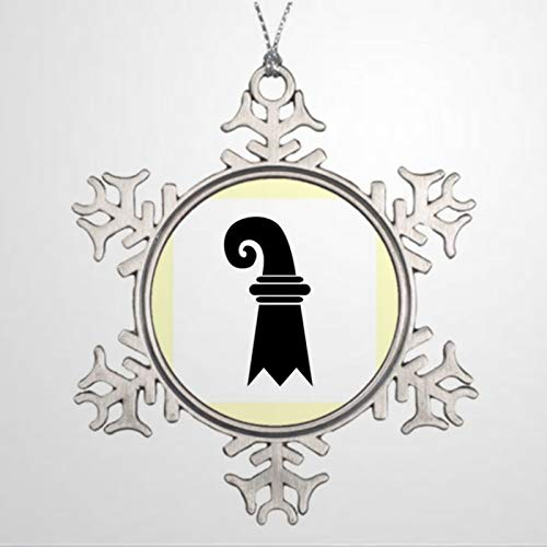 DONL9BAUER Christmas Ornament Basel Switzerland Holiday Tags Metal Snowflake Pendant Custom Decor Anniversary Christmas Tree Decoration