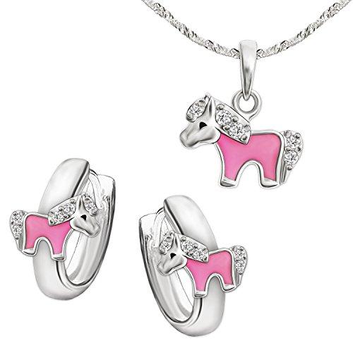CLEVER SCHMUCK Set Silberne Kindercreolen Ø 10 mm Mini Pony, teils rosa lackiert mit Mehreren Zirkonias & passender Anhänger 8 mm & Kette Singapur 40 cm Sterling Silber 925