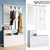 Vicco Flurgarderobe Set Billy weiß Garderobe Dielengarderobe Kompaktgarderobe (Weiß) - 3