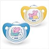 NUK Peppa Pig Trendline Silikon-Schnuller, kiefergerechte Form, BPA frei, 6-18 Monate, 2 Stück, gelb/blau
