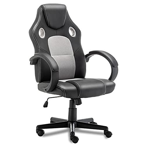 Silla de gaming, ergonómica, con respaldo alto, silla de oficina para el hogar, de piel sintética, ajustable, para ordenador, para adolescentes y adultos (gris)