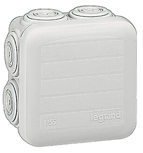 Legrand 092005 Boîte de Dérivation Carrée Plexo, Dimensions 65mm x 65mm x 40mm, Gris