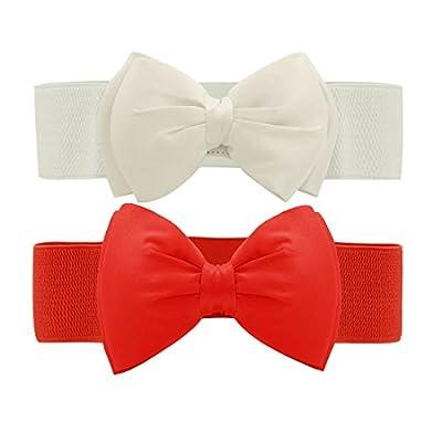 Allegra K Women Press Studs Closure Bowknot Elastic Waist Belt White+Red