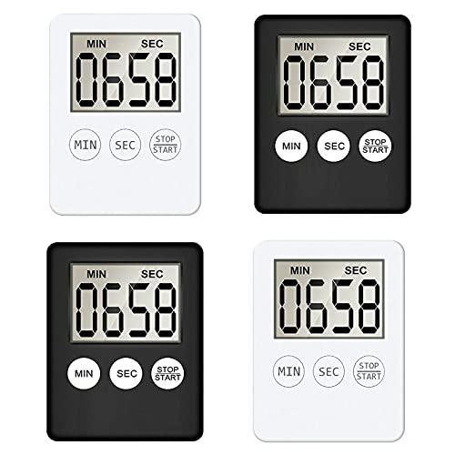 4 Stück Digitaler Küchentimer mit Alarm Erinnerungsfunktion,Kurzzeitmesser Timer Magnetisch Eieruhr Küchenuhr Countdown Stoppuhr mit Großem LCD Display zum Kochen, Fitness, Lernen