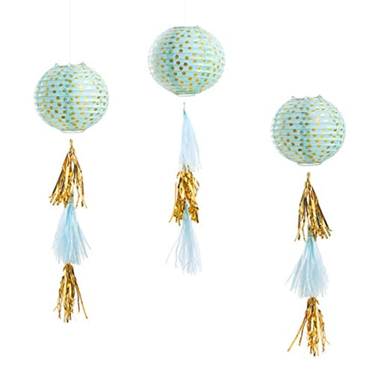 Darice 30030475 Paper Lanterns with Tassels Kit: Gold & Mint Green Party Decorations Gold/Mint
