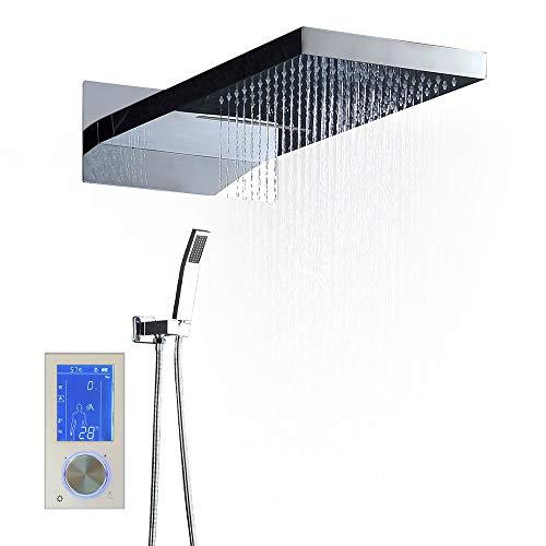 Fácil de ajustar Ducha de ducha de pared superior multifuncional de acero inoxidable en la pared Conjunto de ducha termostática de panel CNC inteligente europeo