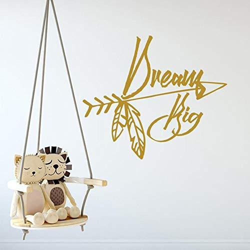 Calcomanías de pared de guardería dream big boho arrow vinilo pegatinas de pared dormitorio de los niños texto de la habitación del bebé decoración del hogar arte