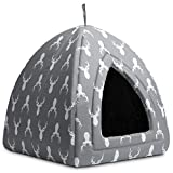Hollypet Cat Bed Kitten Bed Cat Tent 2-in-1 Comfortable Igloo Pet Bed with Removable Cushion Cat Sleeping Cave House, White Antler, M(40 * 40 * 43cm)