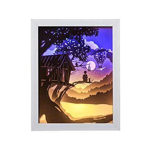 JAQ Papier Sculpture Lampe Tree House Papercut Light Boxes Lampe De Table Creative Nuit Lumière Chambre Chevet Décoration Intérieure Lumière Cadeau De Noël