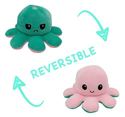 Peluche de Pulpo Reversible-Bonitos Juguetes de Peluche, muñeco de peluche juguetes creativos el Pulpo Reversible Original de Felpa Regalos de Juguete para niños,cumpleaños Navidad (Verde + Rosa)