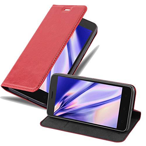 Cadorabo Hülle für Lenovo K6 / K6 Power in Apfel ROT - Handyhülle mit Magnetverschluss, Standfunktion & Kartenfach - Hülle Cover Schutzhülle Etui Tasche Book Klapp Style