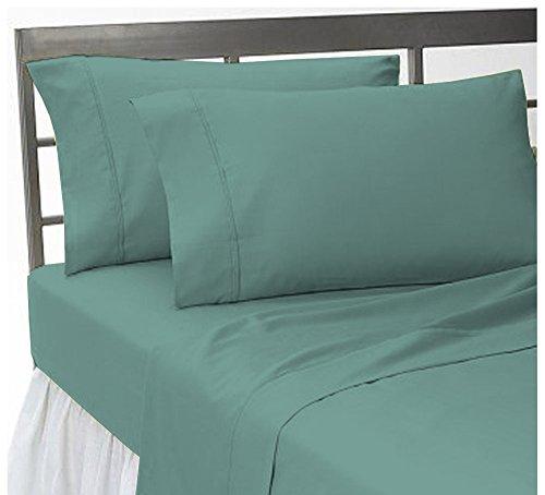 Scala 4 pièces de lit Solide jusqu'à 20 cm Poche Profonde 100% Coton égyptien avec UK Petite Taille Unique Longue et Bleu Turquoise Couleur, Bleu Turquoise, Taille King Size Britannique