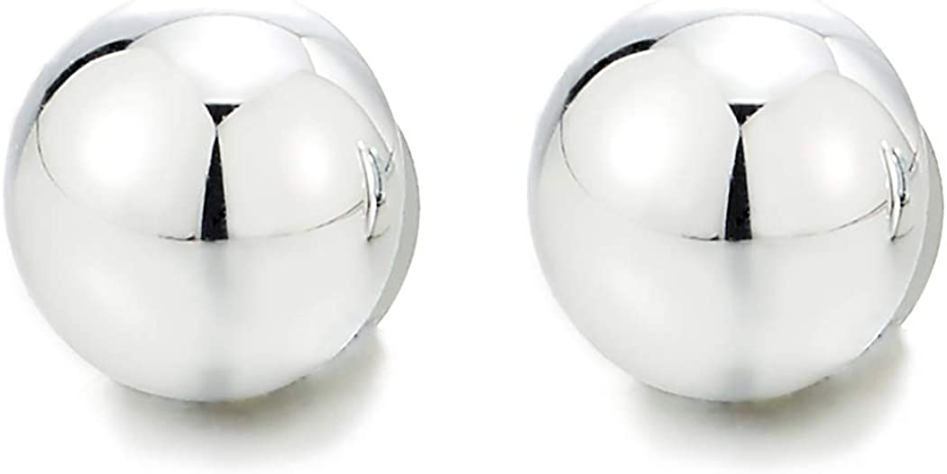 Womens Mens Magnetic Half Ball Dome Stud Earring, Non-Piercing Clip On Fake Ear, Mirror Surface