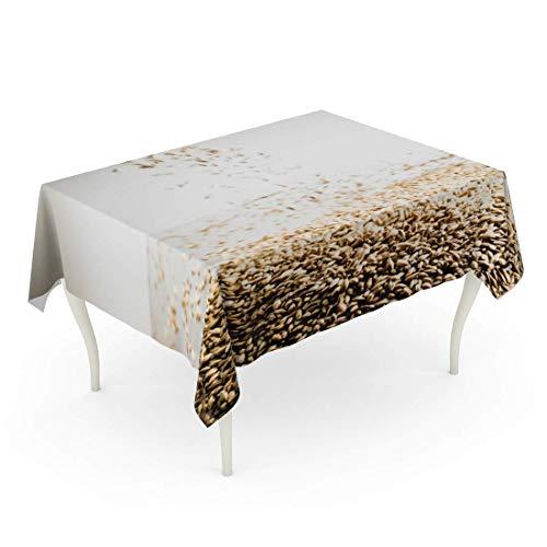 LIS HOME Rechteck-Tischdecke Brown Brewing Falling Pilsner-Malz-Bier-Korn-Haufen auf weißer reflektierender Tabelle in der Studio-Gelb-Landwirtschafts-Tischdecke