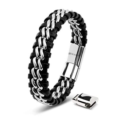 SERASAR Mens Leather Bracelet 17cm Silver Mens Presents Bracelet Men Gift-Box Cowhide Braided Magnetic-Clasp Multi-Layer Wrap Rope Mans Male Boy Boys Mens Bracelets Band Jewelry Magnet Accessories