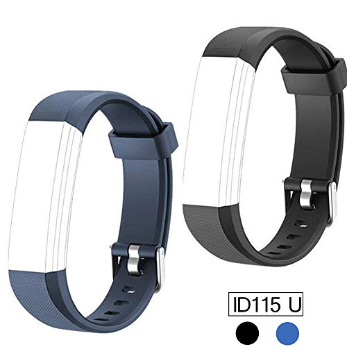 REDGO Replacement Band for ID115U, ID115 U and ID115U HR Replaceable Strap Length Adjustable for Smart Bracelet Fitness Tracker, 2 Packs, Black Blue