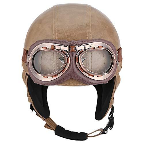 Abiertos Medio Casco Protección Half Helmet para Motocicleta Scooter Bicicleta Retro con...