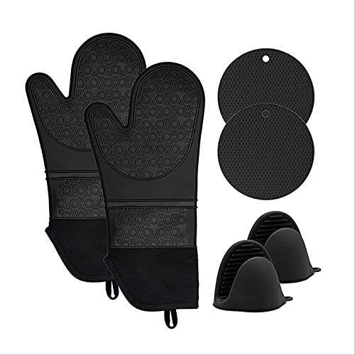 Silicone Heat-insulating Gloves Lengthening And Thickening Microwave Oven Anti-scalding Plus Cotton Gloves Baking Heat-insulating Hand Clip Set Of 6 Three-piece suit (black)