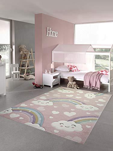 Teppich-Traum Kinderteppich Kinderzimmerteppich Regenbogen mit Wolken und Herzen in rosa Größe 120x170 cm