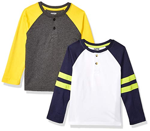 Spotted Zebra 2-Pack Long-Sleeve Henley fashion-t-shirts, Navy/Yellow Colorblock, Small (6-7), 2er