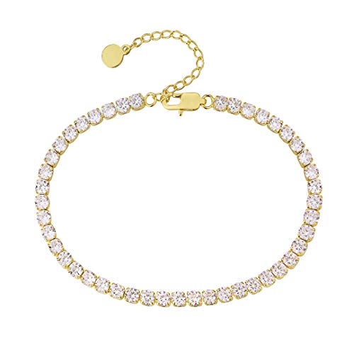 KRKC&CO 14k Gold Plated 4mm Tennis Chain Initial Anklet for Women Fashion Ankle Bracelet with Letter Alphabet Foot Jewelry with Extension (14K Yellow Gold)