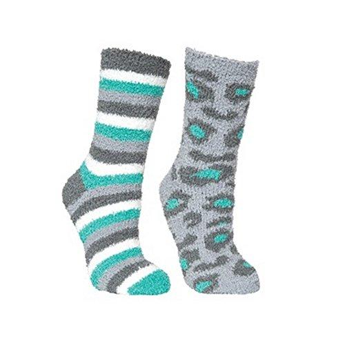 Trespass Damen Fluffy Socken, 2er-Pack (Einheitsgröße) (Lagune Leopard/Gestreift)