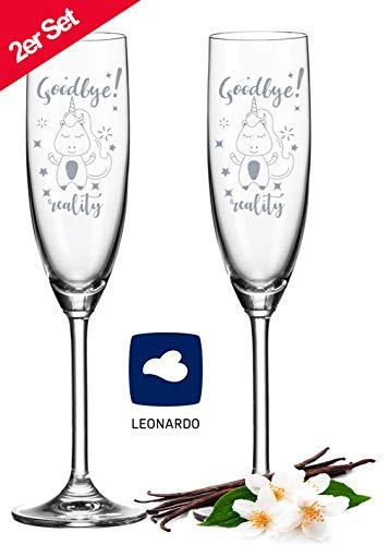 Leonardo Sektgläser im Set - Goodbye Reality - Einhorn Geschenk - Lustiges Geschenk