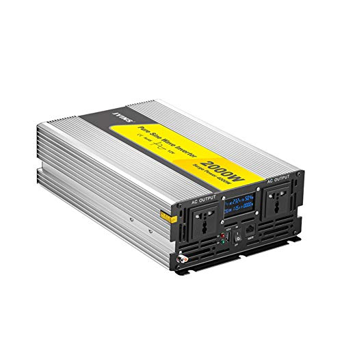 2000w Pure Sine Wave Power Inverter 24v to 230v, 110v to 240v, with Wireless Remote Control 2 Plug and 2.1a USB Port &Led Display for Rv Truck Car Home Use / 24v/110v/wired